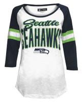 New Era Women's NFL Seattle SeaHawks Scoop Neck T-Shirt 3/4 Sleeve Tee 78030L