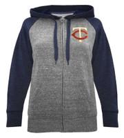 New Era Womens MLB Minnesota Twins Glitter Logo Zip Hoodie Sweatshirt 7773L-HHQN