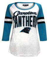 New Era Women's NFL Carolina Panthers Scoop Neck T-Shirt 3/4 Sleeve Tee 78030L