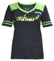 New Era Women's NFL Seattle SeaHawks V-Neck T-Shirt Short Sleeve Tee QNTMLM