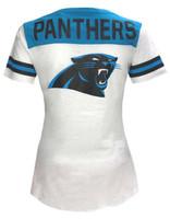 New Era Women's NFL Carolina Panthers T-Shirt Drawstring V-Neck Tee C40061L