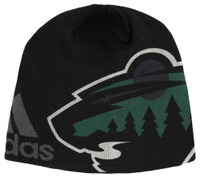 Adidas Men's NHL Minnesota Wild Stocking Knit Hat Beanie Stocking Cap Glow Dark