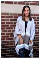 Panache Accessories Stripe Knit Cape Wrap Pashmina Shawl Top Stitch Gray/Olive