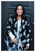 Panache Accessories Large Leopard Print Knit Cape Wrap Pashmina Shawl Black