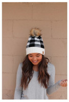 Panache Womens Buffalo Plaid Cable Knit Hat Cap Crown Tag Fleece Lined Fur Pom