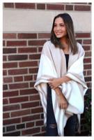 Panache Accessories Stripe Knit Cape Wrap Pashmina Shawl Top Stitch Tan/White