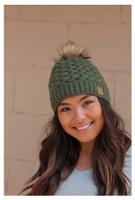 Panache Women's Basket Weave Knit Hat Cap Crown Tag Fleece Lined Fur Pom Green