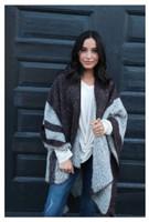 Panache Accessories Stripe Knit Cape Wrap Pashmina Shawl Top Stitch Burgundy