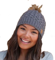 Panache Women's Basket Weave Knit Hat Cap Crown Tag Fleece Lined Fur Pom Gray