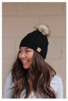 Panache Women's Basket Weave Knit Hat Cap Crown Tag Fleece Lined Fur Pom Black