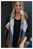 Panache Accessories 4 Color Stripe Knit Cape Wrap Pashmina Shawl Top Stitch