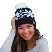 Panache Women's Snowflake Cable Knit Hat Cap Crown Tag Fleece Lined Pom Navy