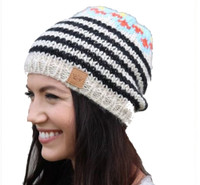 Panache Women's Striped Knit Hat Cap Crown Tag Fleece Lined Top Accent Cream