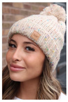 Panache Women's Speckled Cable Knit Hat Cap Crown Tag Fleece Lined Pom Cream