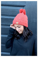 Panache Women's Speckled Cable Knit Hat Cap Crown Tag Fleece Lined Pom Orange