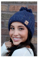 Panache Women's Speckled Cable Knit Hat Cap Crown Tag Fleece Lined Pom Navy