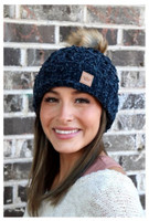 Panache Womens Chenille Cable Knit Hat Cap Crown Tag Accent Fleece Lined Fur Pom