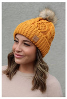 Panache Women's Cable Knit Hat Cap Crown Tag Accent Fleece Lined Fur Pom Mustard