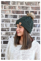 Panache Women's Cable Knit Hat Cap Crown Tag Accent Fleece Lined Fur Pom Green