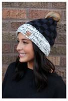 Panache Women's Buffalo Plaid Knit Hat Cap Crown Tag Fleece Lined Pom Navy/Black