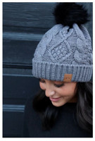 Panache Women's Cable Knit Hat Cap Crown Tag Accent Fleece Lined Fur Pom Gray