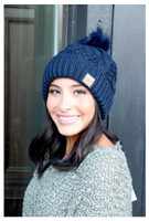 Panache Women's Cable Knit Hat Cap Crown Tag Accent Fleece Lined Fur Pom Navy