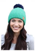 Panache Women's Knit Hat Cap Princess Crown Tag Accent Fleece Lined Pom Mint
