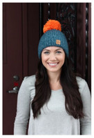 Panache Women's Knit Hat Cap Princess Crown Tag Fleece Lined Pom Teal/Orange