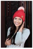 Panache Women's Knit Hat Cap Princess Crown Tag Accent Fleece Lined Pom Red
