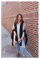Panache Accessories Stripe Knit Cape Wrap Pashmina Shawl Top Stitch Black/Tan