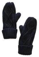 Panache Accessories Women's Cable Diamond Knit Fleece Lined Mitten Glove Navy