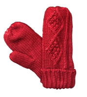 Panache Accessories Women's Cable Diamond Knit Fleece Lined Mitten Glove Red
