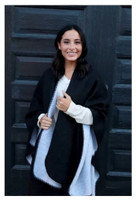 Panache Accessories Reversible Knit Cape Wrap Pockets Pashmina Shawl Gray/Black