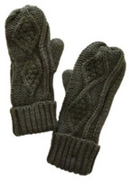 Panache Accessories Women's Cable Diamond Knit Fleece Lined Mitten Glove Olive