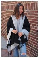 Panache Accessories Reversible Knit Cape Wrap Pockets Pashmina Shawl Charcoal