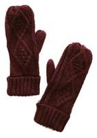 Panache Accessories Women's Cable Diamond Knit Fleece Lined Mitten Glove Maroon