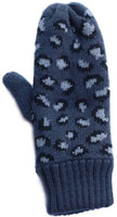 Panache Accessories Women's Gray Leopard Print Knit Fleece Lined Mitten Glove