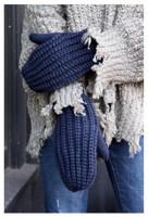 Panache Accessories Women's Cable Knit Fleece Lined Mitten Fashion Glove Navy