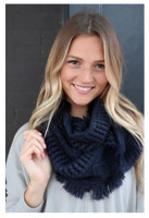 "Panache Accessories Infinity Scarf Circle Scarves Fringe Edge 30""x11"" Navy"