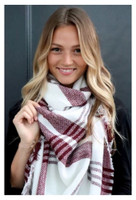 "Panache Accessories Long Scarf Scarves Fringe Edge 56""x56"" Acrylic Cream/Maroon"