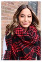"Panache Accessories Fuzzy Blanket Scarf Scarves Fringe 58""x64"" Red/Black Plaid"
