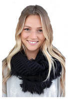 "Panache Accessories Infinity Scarf Circle Scarves Fringe Edge 30""x11"" Black"