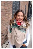 "Panache Accessories Fuzzy Blanket Scarf Scarves Shall Fringe 58""x64"" Tan Plaid"
