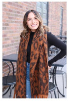 "Panache Accessories Long Scarf Scarves Shall Fringe Edge 24""x72"" Pumpkin Leopard"