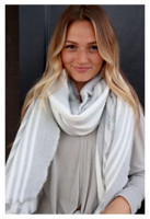 "Panache Accessories Long Scarf Scarves Raw Edge 33""x78"" Cream/Gray Stripe"