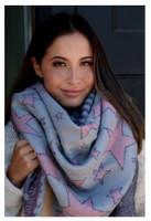 "Panache Accessories Blanket Scarf Shall Scarves Fringe Edge 58""x56"" Pink Star"