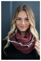 "Panache Accessories Infinity Scarf Circle Scarves Fringe Edge 30""x27"" Burgundy"