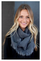 "Panache Accessories Infinity Scarf Circle Scarves Fringe Edge 30""x11"" Gray"
