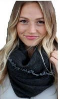 """Panache Accessories Infinity Scarf Circle Scarves Fringe Edge 30""""x27"""" Charcoal"""