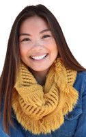 "Panache Accessories Infinity Scarf Circle Scarves Fringe Edge 30""x11"" Mustard"